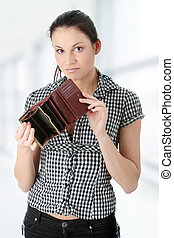 Broke - Young caucasian woman with empty wallet - broke