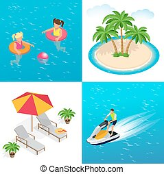 Little girls swimming in inflatable ring, palm trees, sun umbrella and two Deck chairs, Man on Jet Ski. Flat 3d vector isometric illustration