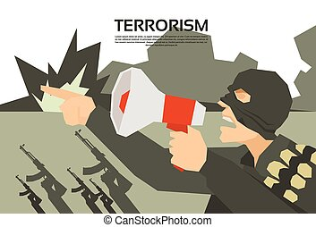 Terrorist With Megaphone Terrorism Group Leader Flat Vector...