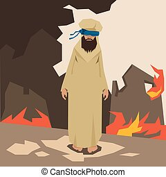 Terrorist Land In Fire Terrorism Concept Vector Illustration