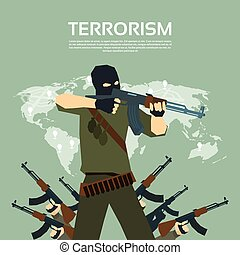 Armed Terrorist Group Over World Map Terrorism Concept -...
