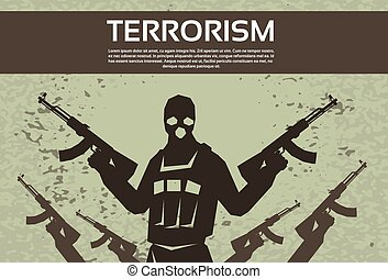 Terrorism Armed Terrorist Black Mask Hold Weapon Machine Gun...