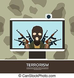 Terrorist Leader On Tv Screen Streaming Television Terrorism...