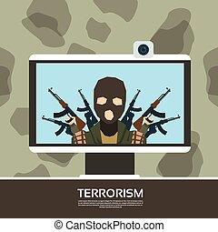 Terrorist Leader On Tv Screen Streaming Television Terrorism...