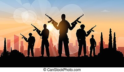 Terrorist Group Over City View Banner Flat Vector...