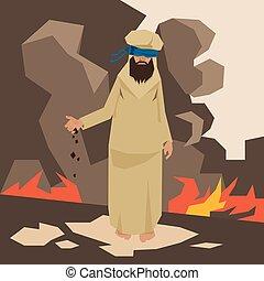 Terrorist Land In Fire Terrorism Concept Vector Illustration
