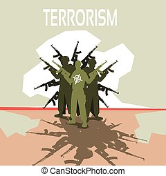 Armed Terrorist Group Terrorism Concept Flat Vector...