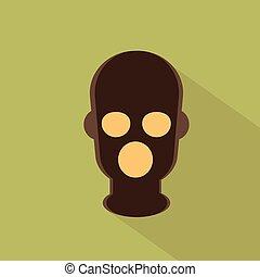 Terrorist In Balaclava Mask Icon Terrorism Concept Flat...