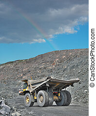 Iron ore opencast - Heavy dump truck on the iron ore...