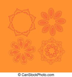 Henna tattoo floral doodle design elements. Arabic or Indian Seamless Round Ornament Mandala, Round Paisley circle
