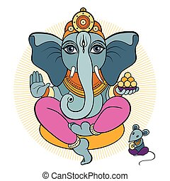 Ganesha and mouse Vector hand drawn illustration