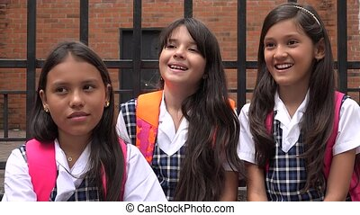 Adorable School Girls Laughing