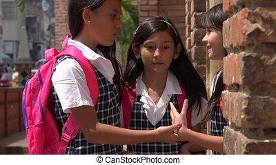 School Girls Saying Goodbye
