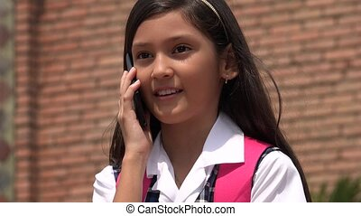 Pretty Child Talking On Cell