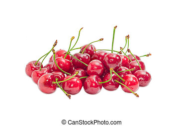 Pile of a sweet cherries on a light background