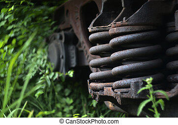 Part of the freight railcar - Part of the dirt and old...