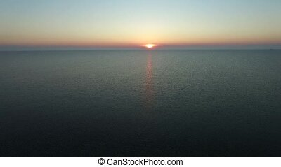 Sea Sunset drone footage in summer sky