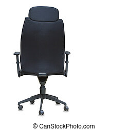 Back view of modern office chair from black cloth isolated...