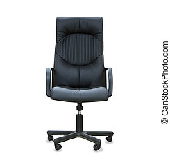Modern office chair from black leather isolated over white