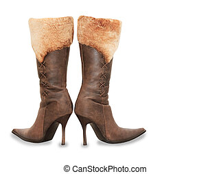 Brown high heels suede woman boots isolated over white