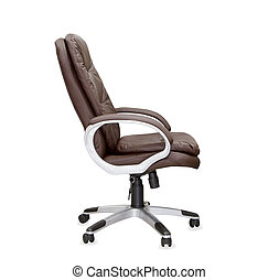 The profile view of office chair from brown leather Isolated...