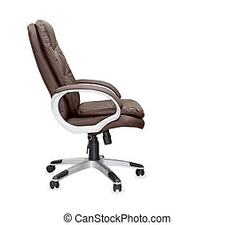 The profile view of office chair from brown leather....