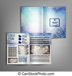 Blue brochure template design with blurred abstract background.