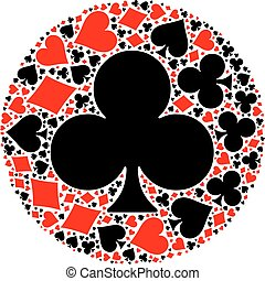 Poker playing cards suit mosaic - Mosaic circle of poker...