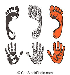 Footprint and hand print silhouettes - Vector black red and...