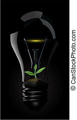 Light bulb whit green plant
