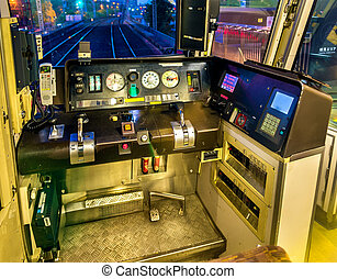 Cab of a local train in Osaka, Japan