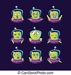 Alien In Ufo Emoticon Set Of Simplified Cartoon Character...