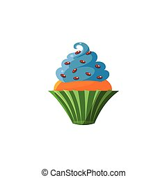 Cute Cupcake With Blue Top