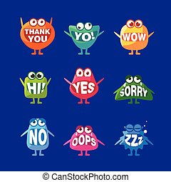Monster With Words In Mouth For Teeth Set Of Funny Cartoon...