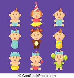 Babies An Toddles Sticker Set Of Flat Simplified Cartoon...