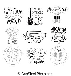 Live Music Hand Drawn Banner Set Of Artistic Decorative...