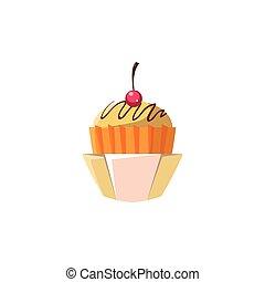 Cute Cupcake In Orange Paper Cup