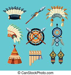Native American Indian Culture Set Of Simple Flat Realistic...