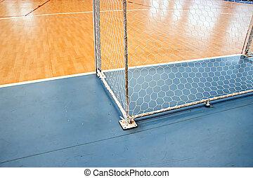 meta, redes, Futsal, en, futsal, campo,