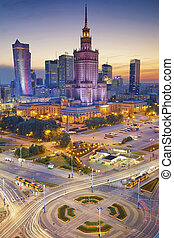 Warsaw - Image of Warsaw, Poland during twilight blue hour