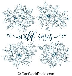 Wild Roses Bouquets Collection - Vector vintage graphic...