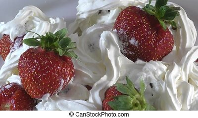 Strawberries with cream for dessert
