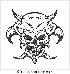 Horned skull - isolated on white - Horned skull for tattoo -...