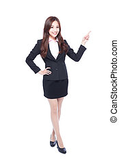 business woman stands pointing something - business woman...