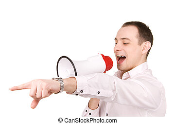 businessman with megaphone - picture of businessman with...