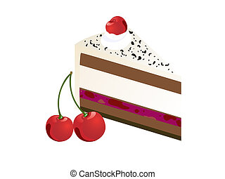 pie slice - illustration from a piece of cake with cherries