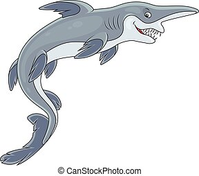 Goblin shark - Vector illustration of a deep-see goblin...