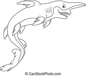 Goblin shark - Black and white vector illustration of a...