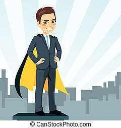 Businessman Super Hero - Confident young businessman hands...