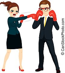 Businesswoman Fighting Against Businessman - Young...